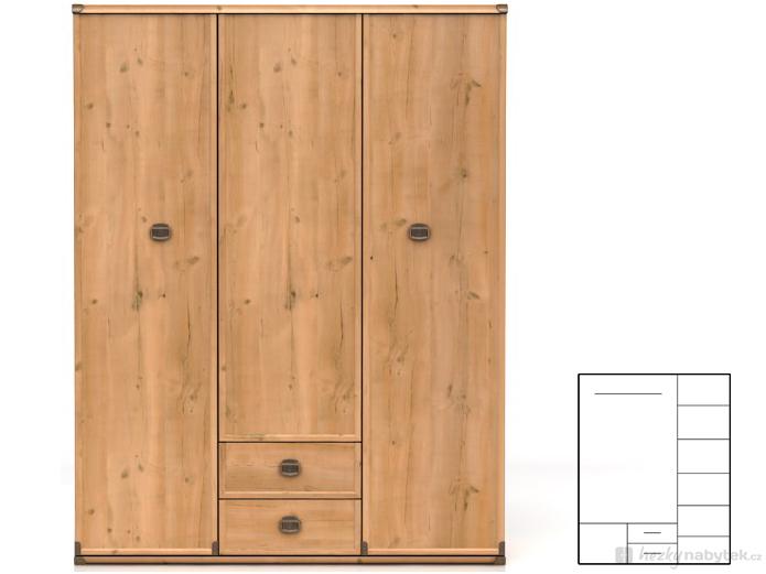 Šatní skříň - BRW - INDIANA - JSZF 3D2S (Borovice antická)
